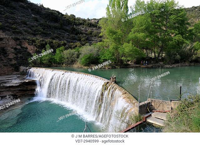 Alcanadre River dam and waterfall, Bierge. Somontano de Barbastro, Sierra y Cañones de Guara Natural park, Huesca province, Aragon, Spain
