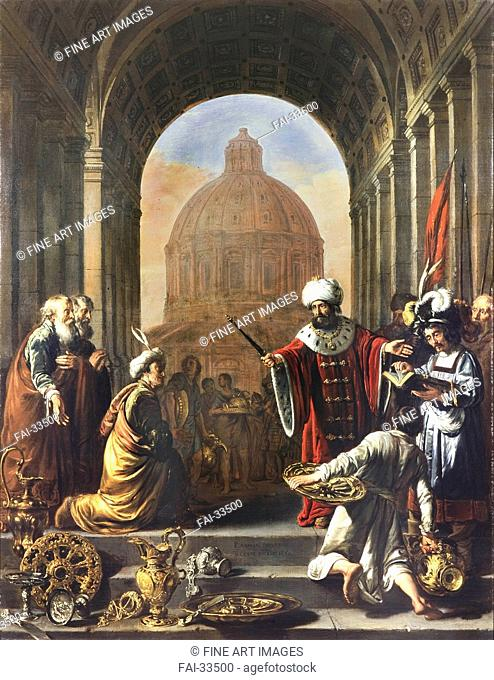 Cyrus restores the treasures of the temple by Keyser, Thomas de (1597-1651)/Oil on canvas/Baroque/1660/Holland/Fondation Custodia/118,8x92/Bible,Mythology