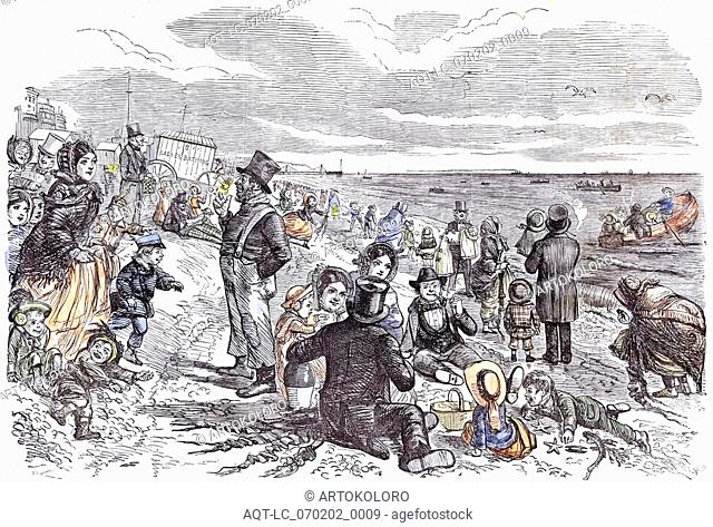 Eight Hours At The Sea-Side; J. Leech; Children; Brighton; 1856; ladies bathing; delight; fun; rowing; chattering; smoking; seaside; waves; clouds; leisure;...