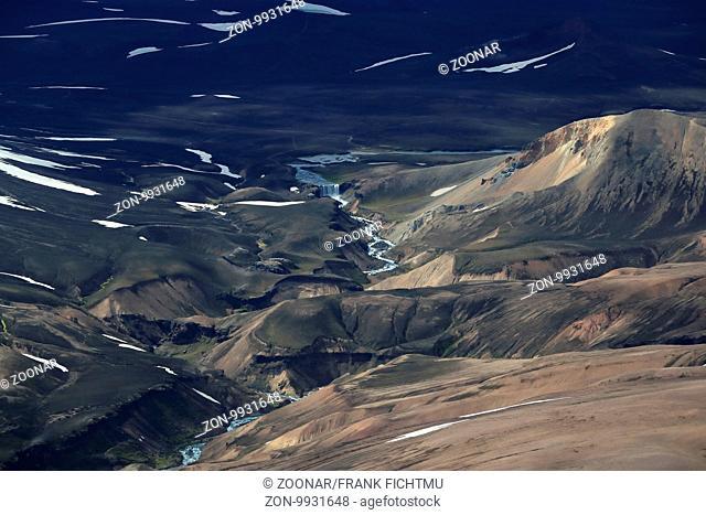 Landschaft um den Krossarjokull Glacier, Myrdalsjokull Ice cap, Iceland