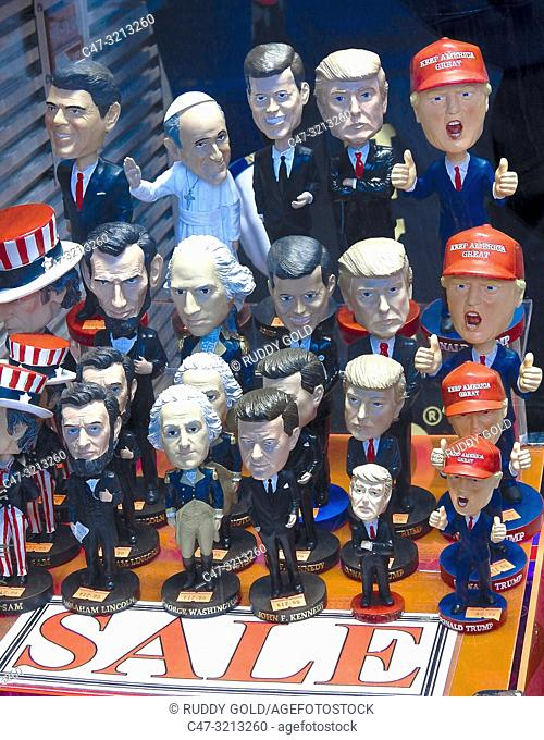 New York. US. Mocking characters of world personalities among them President Trump