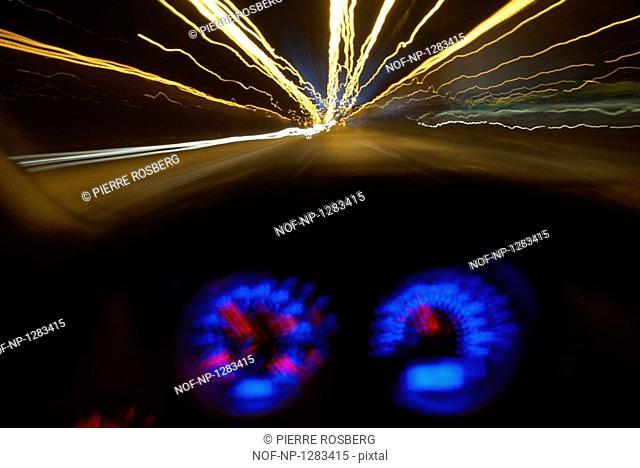 A car driving at night