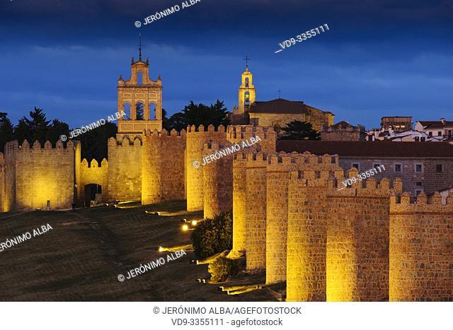 Medieval monumental walls at dusk, UNESCO World Heritage Site. Avila city. Castilla León, Spain Europe