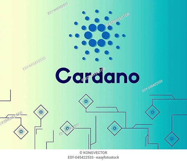 Blockchain cardano blockchain circuit style background vector illustration