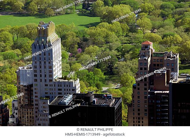 United States, New York, Manhattan, overlooking Central Park and the skyscrapers along the park