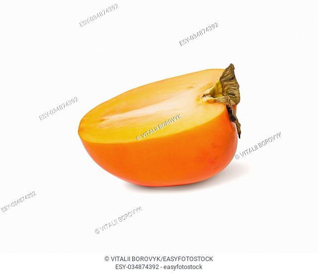 Single Half Persimmons Isolated On White Background