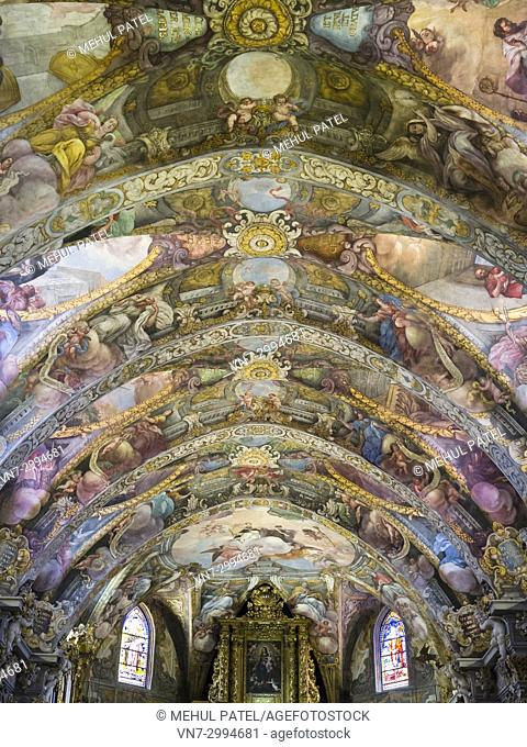 Colourful paintings on restored ceiling of the Church of San Nicolas (Parroquia de San Nicolas), Ciutat Vella, Valencia, Spain