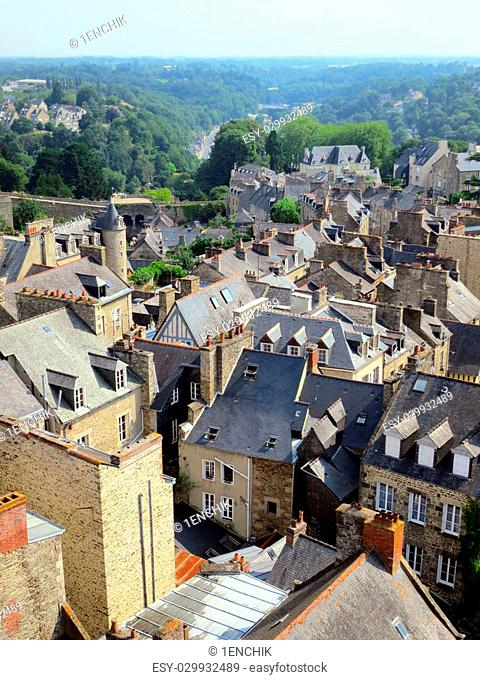 View to the roofs of old city Dinan in Brittany, France