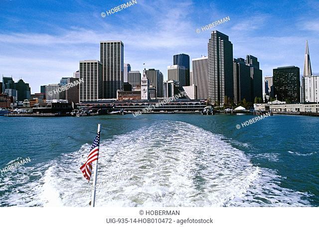 San Francisco Skyline with US flag, California, North America