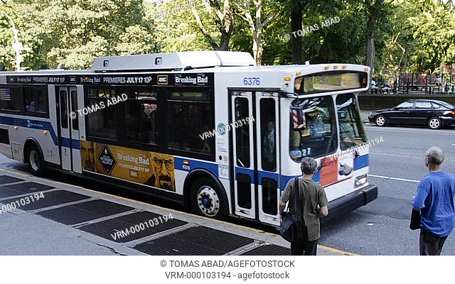 MTA public bus, Central Park West, New York City