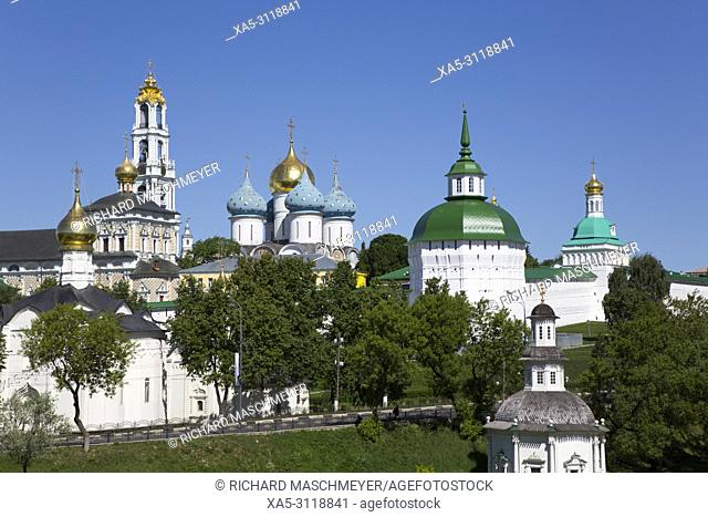 Overview, The Holy Trinity Saint Serguis Lavra, UNESCO World Heritage Site, Sergiev Posad, Golden Ring Russia