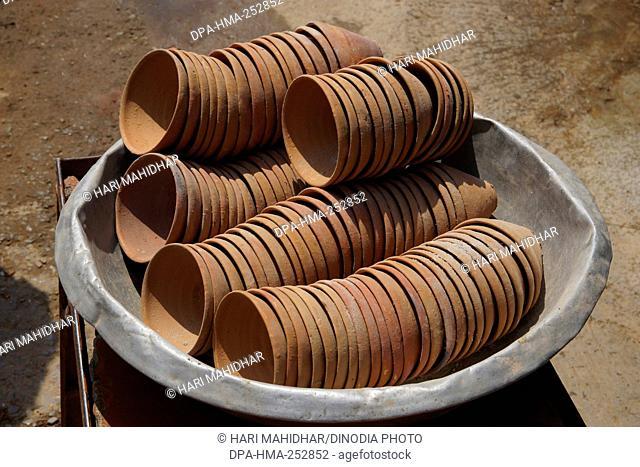 Earthen cups, varanasi, uttar pradesh, india, asia