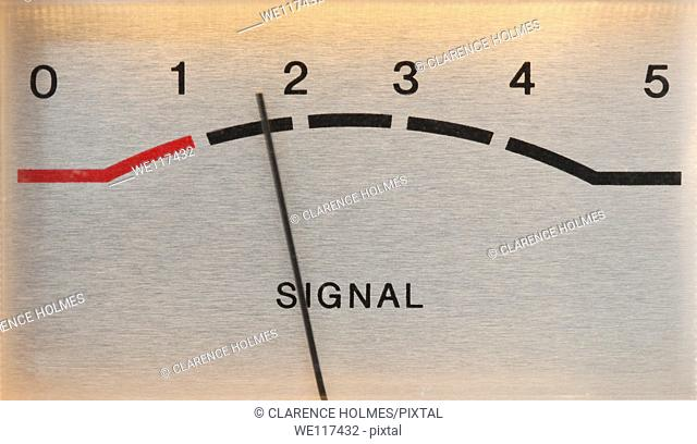 Signal strength meter on a radio tuner