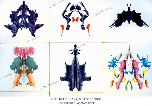Rorschach inkblot test images. It is a psychological test in which subjects' perceptions of inkblots are analyzed using psychological interpretation