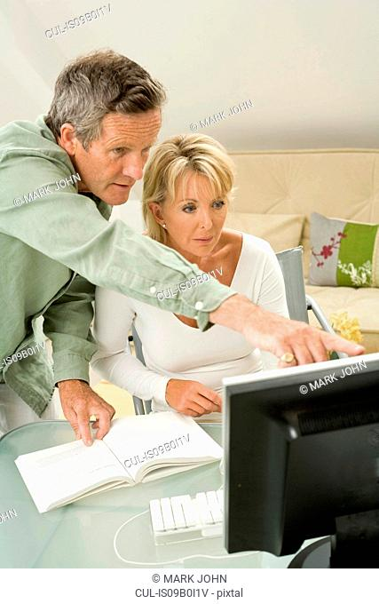 Couple using and pointing at computer on home desk