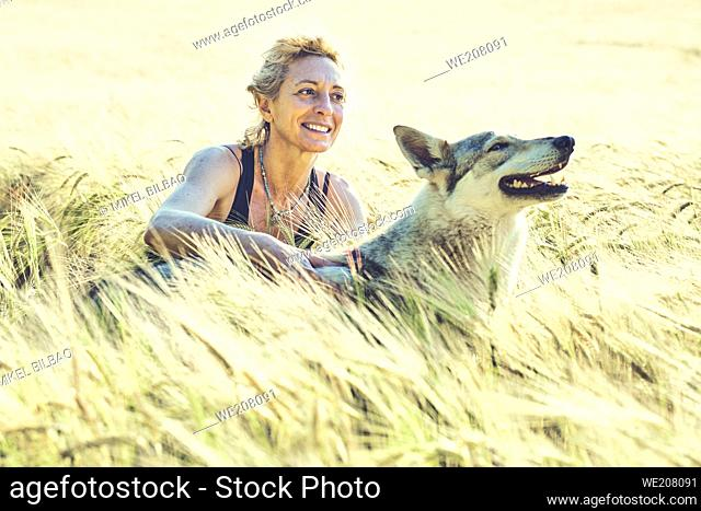 portrait of a young mature caucasian woman with her wolf dog outdoor in a cereal farmland landscape. Lifestyle concept