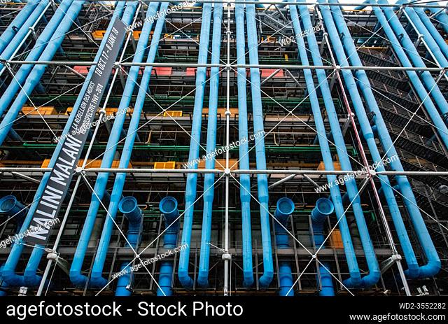 France Paris 12 - 2019: Pompidou Centre, a complex building in the Beaubourg area, the first major example of an 'inside-out' building in architectural history