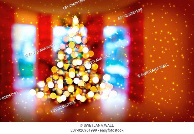 Defocused Bokeh Background Effect. Christmas Tree and Festive Illumination. Christmas tree lights