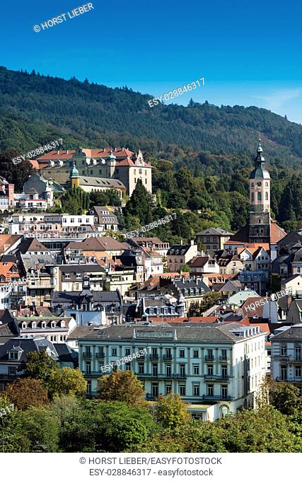 Panoramic views of Baden Baden with the New Castle and Collegiate Church