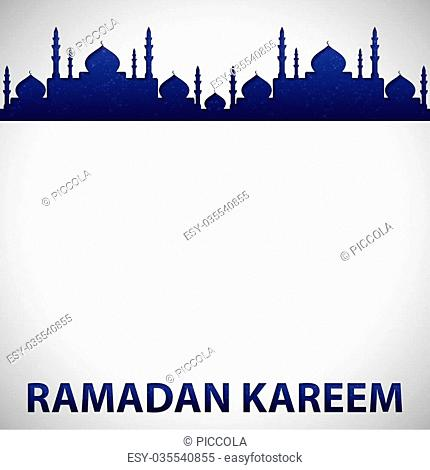 """Mosque """"""""Ramadan Kareem"""""""" (Generous Ramadan) card in vector format"""