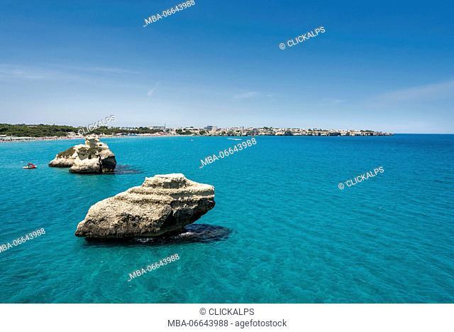 Melendugno, province of Lecce, Salento, Apulia, Italy. The Two Sisters
