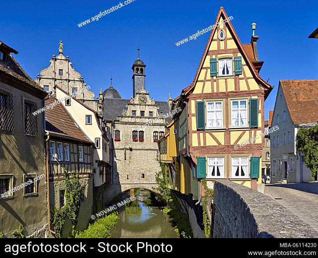 Bridge Town Hall and Malerwinkelhaus in Marktbreit am Main, Lower Franconia, Bavaria, Germany