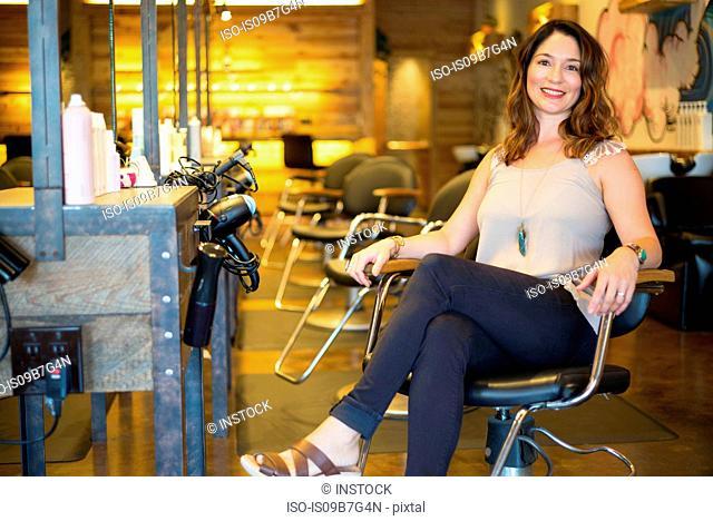 Happy salon owner