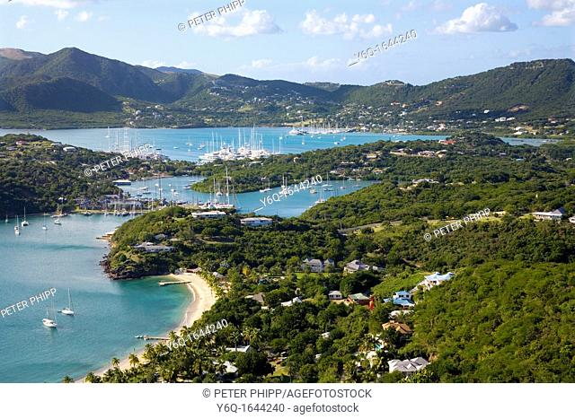 View of English Harbour and Nelsons Dockyard and Falmouth Harbour in the distance at Antigua, Caribbean