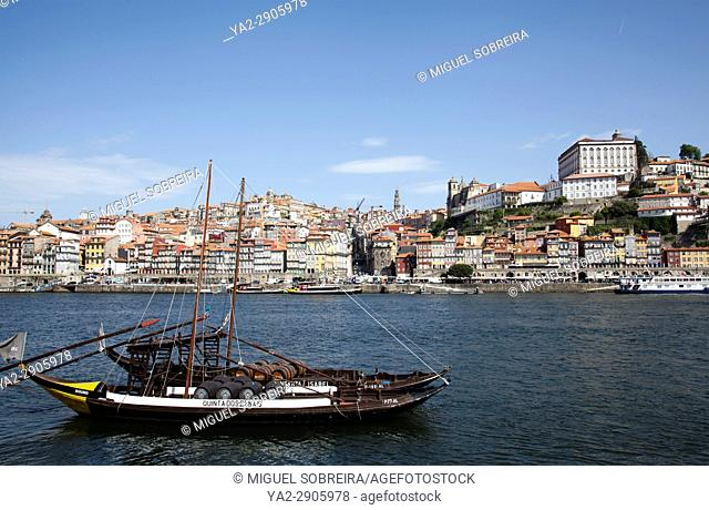 View of Ribeira Buildings across the River Douro in Porto, Portugal