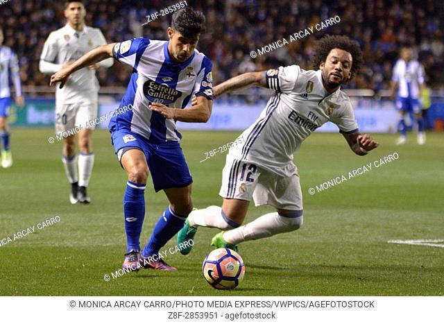 LA CORUNA, SPAIN. April 26th, 2017 - Juanfran and Marcelo. La Liga Santander matchday 34 game between Deportivo de La Coruna and Real Madrid