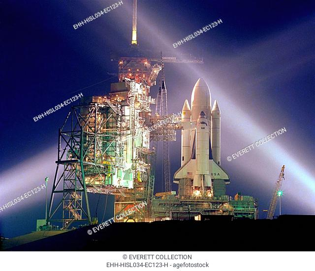 The Columbia on the launch pad prior to the first launch of the 30 year Space Shuttle program. April 12, 1981