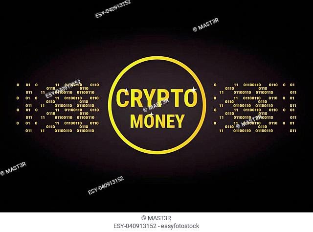 Crypto Banner Golden Bitcoin Digital Web Money Concept Vector Illustration