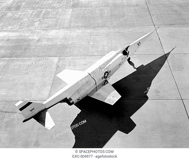 This NACA High-Speed Flight Station photograph shows an aft, look-down view of the X-3 Stiletto on the ramp at Edwards Air Force Base, Edwards, California