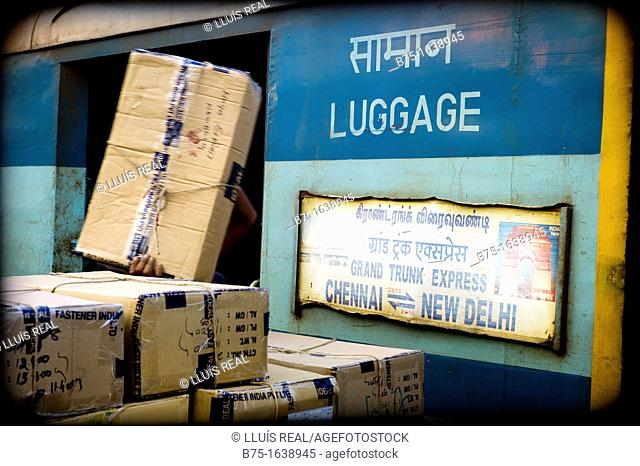 Asia, packages on a freight train wagon in New Delhi, India, Asia