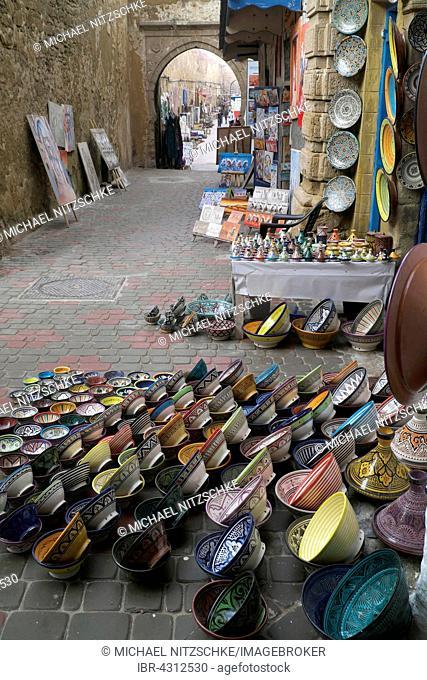 Pottery in streets of Essaouira, Marrakech-Tensift-Al Haouz, Morocco
