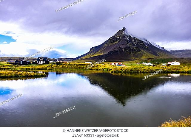 Mt. Stapafell reflected in the pond at Arnarstapi, Snaefellsnes peninsula, Iceland