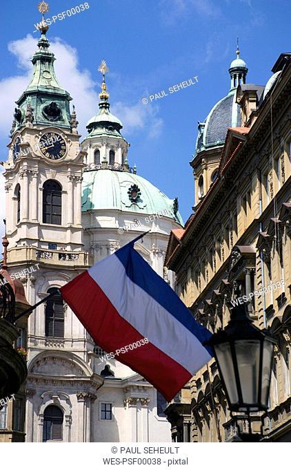 Czech Republic, Prague, St. Nicholas Church, National flag