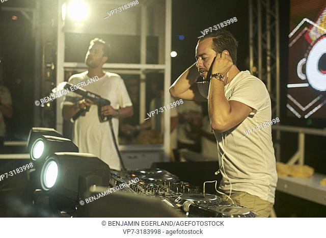 DJ Quintino performing on stage at music festival Starbeach on 13. August 2018 in Chersonissos, Crete, Greece