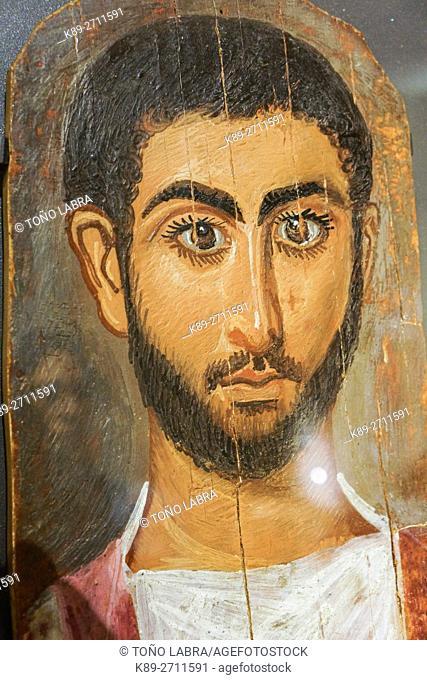 Fayum mummy portrait. Egyptian Ptolemaic collection. Louvre Museum. Paris. France