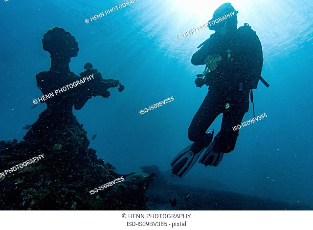 Scuba diver checking out underwater statue off coast, Tulamben, Bali, Indonesia