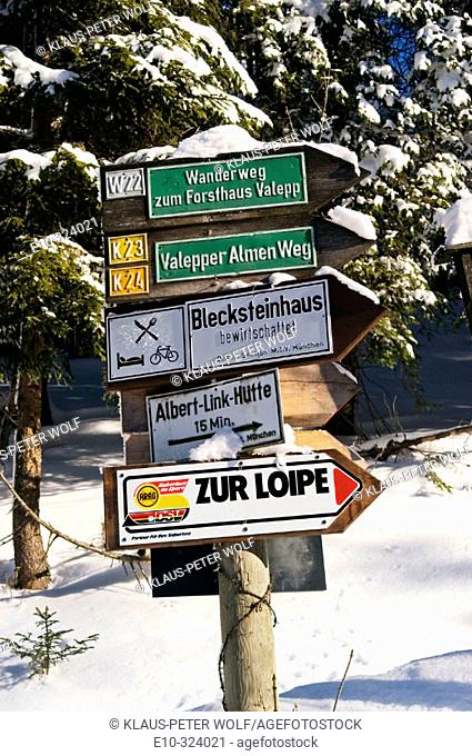 Guideposts to the cross-country ski run in the Valepp valley, near Spitzingess Lake. Spitzing. Upper Bavaria. Germany