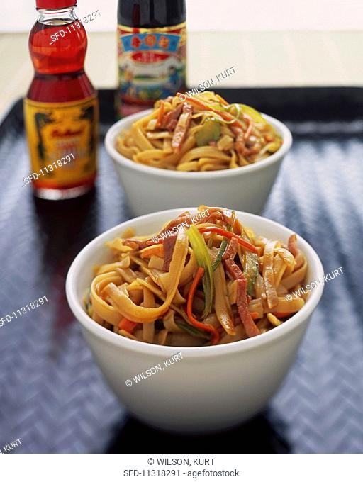 Wide noodles with vegetables and pork (Asia)