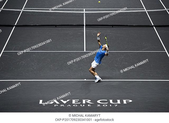 Spanish tennis player RAFAEL NADAL (Team Europe) in action during the 6th match, singles, against US player Jack Sock (Team World) within the first edition of...