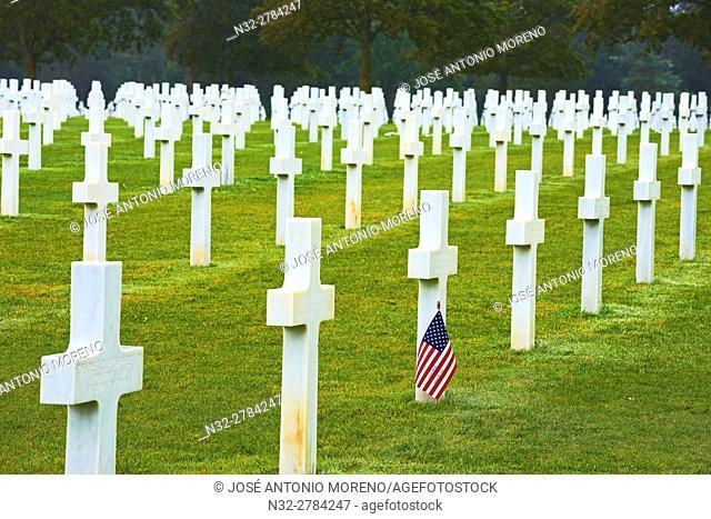 Second World War Cemetery, Colleville Sur Mer, Omaha Beach, D-DAY Landing Site, American War Cemetery, Basse-Normandie. Calvados Department, Bayeux District