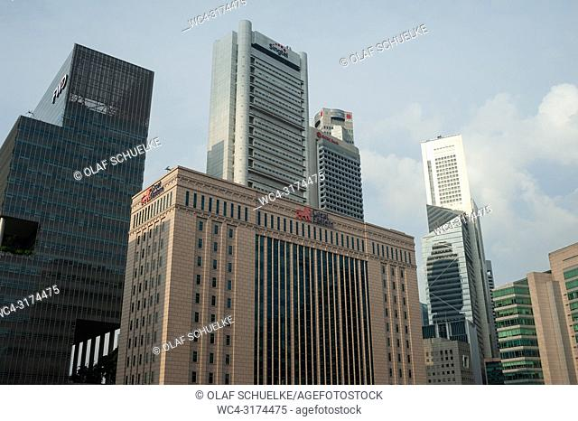 19. 07. 2018, Singapore, Republic of Singapore, Asia - A view of office buildings in Singapore's central business district