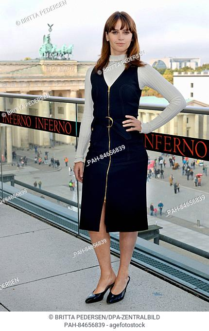 British actor Felicity Jones in front of the Brandenburg Gate during the 'Inferno' photocall in Berlin, Germany, 10 October 2016