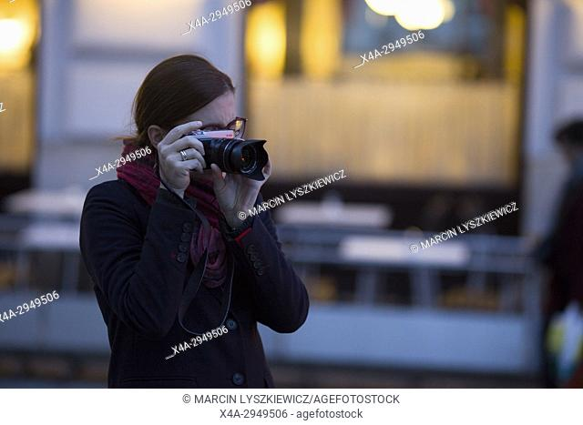 Beautiful Woman with Camera, Vienna, Austria