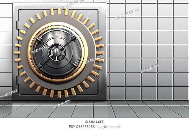 3d illustration of metal safe with closed bank door over white wall background