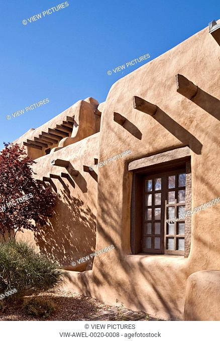 New Mexico Museum of Art, Santa Fe, United States. Architect: Isaac Hamilton Rapp, 1917. Wall and window detail in perspective