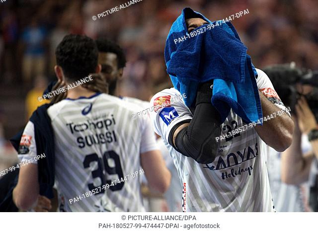 27 May 2018, Germany, Cologne: Handball: Champions League, HBC Nantes vs Montpellier HB, Final Four, Finale at Lanxess Arena: Michael Montpellier's Malvyn...